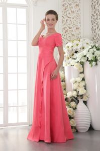 Coral Red Scoop Floor-length Satin Dress for Prom with Beading in Adelaide