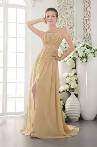 Strapless Gold Appliqued Prom Attire with Brush Train in Chiffon in Mackay