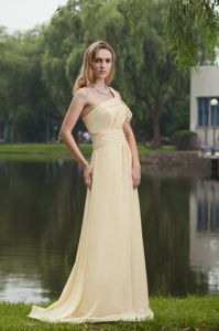 One Shoulder Chiffon Ruched Prom Dress in Light Yellow in Wollongong, NSW