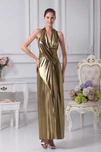 Gold Ankle-length Halter Top Backless Prom Gown with Rhinestone