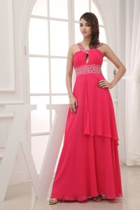 Hot Coral Red Chiffon Cutout Prom Dress with Beading Floor-length