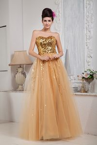 New Style Gold Tulle Sequins Sweetheart Prom Dress for Slim Girls