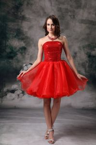 Sequined Bodice Red Strapless Dress for Formal Prom in Organza