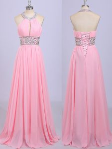 Graceful Halter Top Beading and Belt Prom Dress Rose Pink Zipper Sleeveless Floor Length