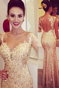 Mermaid Floor Length Gold Prom Dress Tulle Long Sleeves Lace and Appliques and Sequins