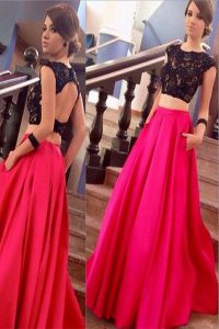 Pretty Pink And Black Satin Backless Scoop Short Sleeves Dress for Prom Brush Train Lace