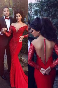 Mermaid Scoop With Train Red Dress for Prom Elastic Woven Satin Sweep Train Long Sleeves Beading
