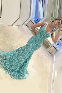 Mermaid Turquoise Sleeveless Sweep Train Appliques With Train Evening Dress