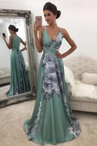 Hot Selling Printed Green Prom Evening Gown Prom with Pattern V-neck Sleeveless Sweep Train Zipper