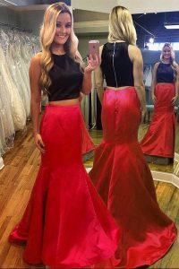 Elegant Mermaid Scoop Red And Black Sleeveless Ruching Floor Length Evening Dress