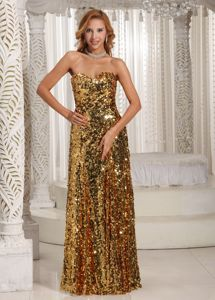 Sequined Sweetheart Floor-length Gold Senior Prom Dresses in Castres