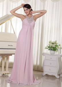 Baby Pink Halter Beaded Chiffon Prom Dress with Brush Train in Sevran