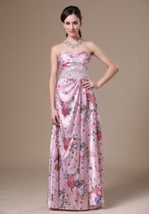 Printed Floor-length Sweetheart Informal Prom Dress with Beading in Frejus