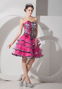Zebra Printed Strapless Formal Prom Dresses in Mini-length in Chambery