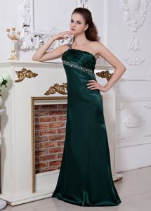 Wanted Dark Green Satin Beading Prom Dresses with the Back out