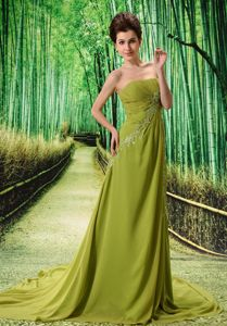 Olive Green Chapel Train Appliqued Junior Prom Dress in Yaxley East Anglia