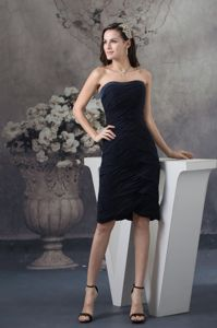 Navy Blue Strapless Zipper-up Prom Gown with Ruches in Staple Kent