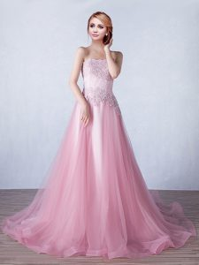 Stunning Strapless Sleeveless Brush Train Lace Up Homecoming Dress Pink Tulle