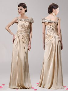 Fitting Champagne Sleeveless Floor Length Beading Side Zipper Prom Evening Gown