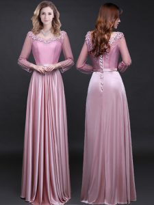 Glorious Pink Long Sleeves Appliques and Belt Floor Length Homecoming Dress