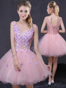 Top Selling Hand Made Flower Dress for Prom Pink Lace Up Sleeveless Mini Length