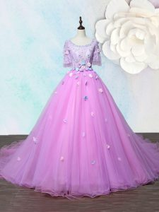 Lilac Scoop Lace Up Beading and Appliques Prom Party Dress Court Train Half Sleeves