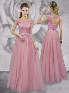Noble Scoop Cap Sleeves Tulle Evening Dress Lace and Ruching and Bowknot Lace Up