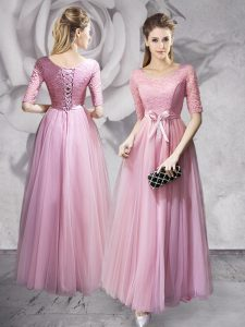 Scoop Half Sleeves Floor Length Lace and Ruching and Bowknot Lace Up Prom Evening Gown with Pink