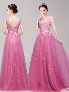 Great Pink Prom Party Dress Prom and Party with Appliques and Belt V-neck Sleeveless Lace Up