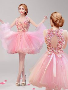 Halter Top Ruffles and Hand Made Flower Prom Evening Gown Pink Backless Sleeveless Mini Length