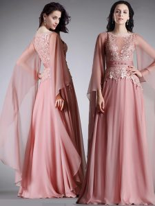 Scoop Pink Chiffon Zipper Homecoming Dress 3 4 Length Sleeve Floor Length Lace and Belt